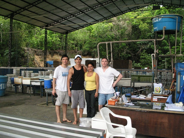 """View of the """"office"""" Turkys, work outdoors. Some boxes with more delicate fish behind us. From left to right: William, author, Maria and Enrique."""